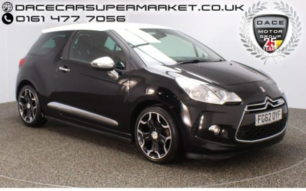Used 2012 BLACK CITROEN DS3 Hatchback 1.6 E-HDI AIRDREAM DSPORT PLUS 3DR LEATHER SEATS 111 BHP (reg. 2012-11-09) for sale in Stockport