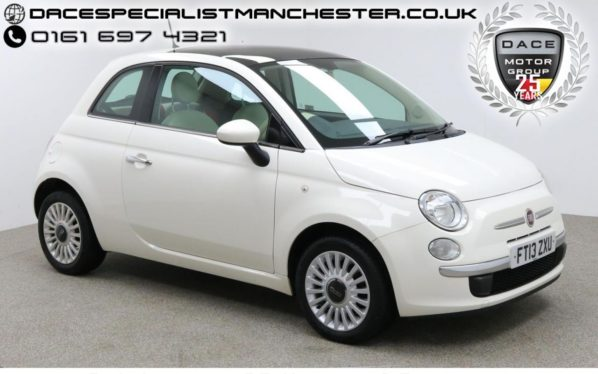 Used 2013 WHITE FIAT 500 Hatchback 1.2 LOUNGE 3d 69 BHP (reg. 2013-05-30) for sale in Manchester