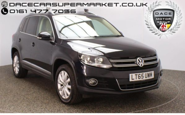 Used 2015 BLACK VOLKSWAGEN TIGUAN Estate 2.0 MATCH TDI BLUEMOTION TECH 4MOTION PAN ROOF DSG SAT NAV HEATED LEATHER 1 OWNER 148 BHP (reg. 2015-09-09) for sale in Stockport