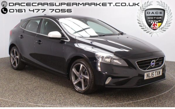 Used 2015 BLACK VOLVO V40 Hatchback 2.0 D4 R-DESIGN NAV 5DR SAT NAV HALF LEATHER 1 OWNER 187 BHP (reg. 2015-03-31) for sale in Stockport