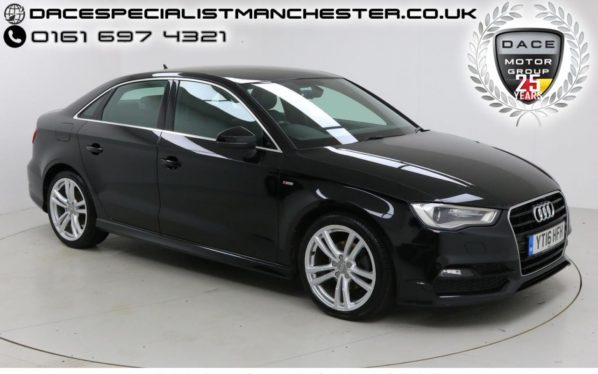 Used 2016 BLACK AUDI A3 Saloon 2.0 TDI S LINE NAV 4d AUTO 148 BHP (reg. 2016-03-03) for sale in Manchester