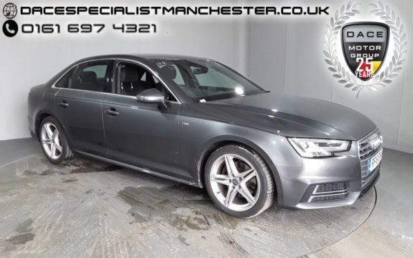 Used 2016 GREY AUDI A4 Saloon 2.0 TDI S LINE 4d AUTO 148 BHP (reg. 2016-06-29) for sale in Manchester