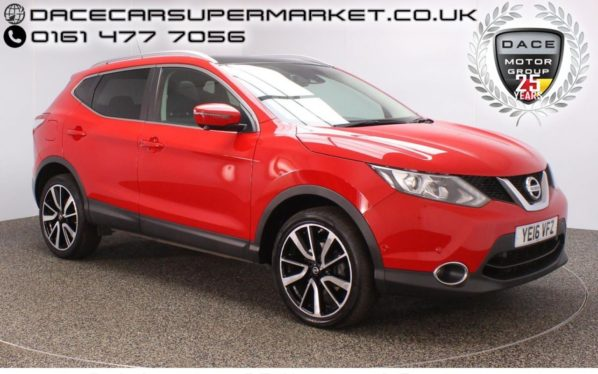 Used 2016 RED NISSAN QASHQAI Hatchback 1.5 DCI TEKNA 5DR SAT NAV HEATED LEATHER 1 OWNER 108 BHP (reg. 2016-04-29) for sale in Stockport