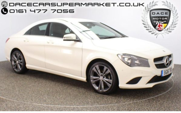 Used 2016 WHITE MERCEDES-BENZ CLA Coupe 2.1 CLA 200 D SPORT 4DR HALF LEATHER ACTIVE PARK ASSIST 134 BHP (reg. 2016-04-30) for sale in Stockport