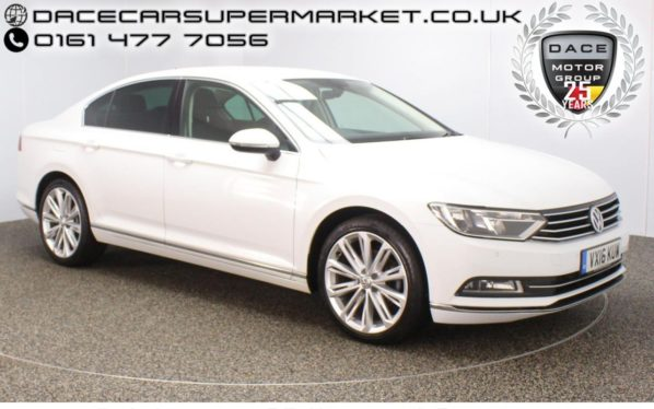 Used 2016 WHITE VOLKSWAGEN PASSAT Saloon 2.0 GT TDI BLUEMOTION TECHNOLOGY 4DR SAT NAV HEATED HALF LEATHER 1 OWNER (reg. 2016-03-01) for sale in Stockport