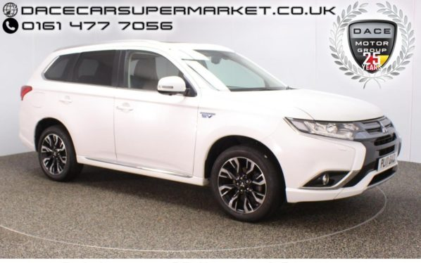 Used 2017 WHITE MITSUBISHI OUTLANDER Estate 2.0 PHEV 4H 5DR AUTO SAT NAV 360 CAMERA LEATHER SEATS 200 BHP (reg. 2017-06-28) for sale in Stockport