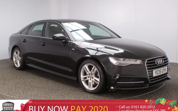 Used 2015 BLACK AUDI A6 Saloon 2.0 TDI ULTRA S LINE 4DR S TRONIC AUTO SAT NAV LEATHER SEATS 1 OWNER 188 BHP (reg. 2015-06-15) for sale in Stockport