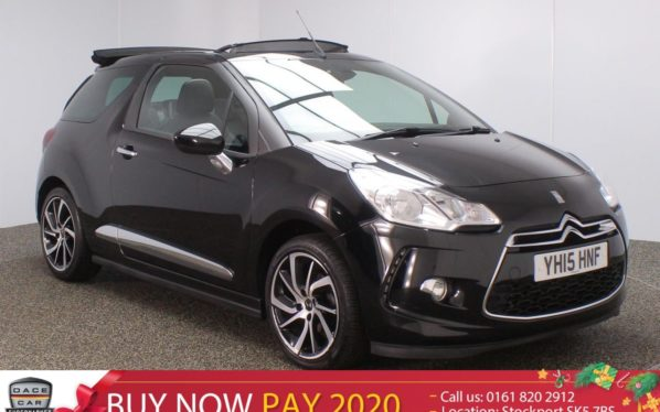 Used 2015 BLACK CITROEN DS3 CABRIO Convertible 1.2 PURETECH DSTYLE PLUS S/S 3DR 109 BHP (reg. 2015-05-28) for sale in Stockport