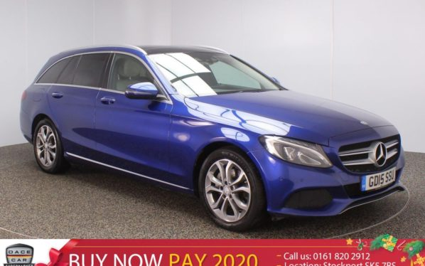Used 2015 BLUE MERCEDES-BENZ C CLASS Estate 2.1 C220 D SPORT PREMIUM 5DR SAT NAV HEATED LEATHER SEATS 1 OWNER 170 BHP (reg. 2015-07-03) for sale in Stockport