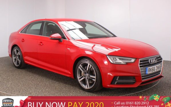 Used 2016 RED AUDI A4 Saloon 3.0 TDI S LINE 4DR SAT NAV HEATED HALF LEATHER SEATS 1 OWNER (reg. 2016-09-06) for sale in Stockport