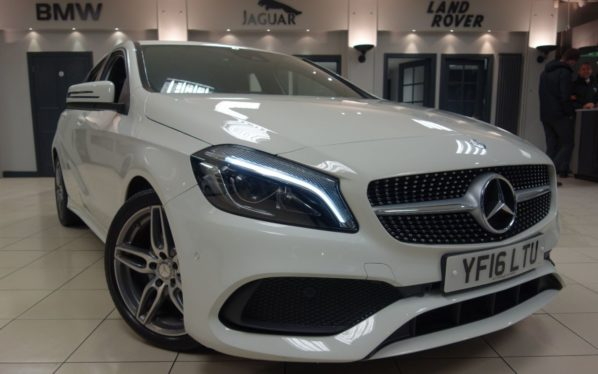 Used 2016 WHITE MERCEDES-BENZ A CLASS Hatchback 1.5 A 180 D AMG LINE PREMIUM 5d 107 BHP (reg. 2016-06-30) for sale in Hazel Grove