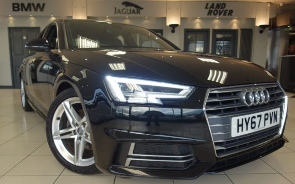 Used 2017 BLACK AUDI A4 Saloon 2.0 TDI S LINE 4d 148 BHP S TRONIC AUTO (reg. 2017-09-15) for sale in Hazel Grove