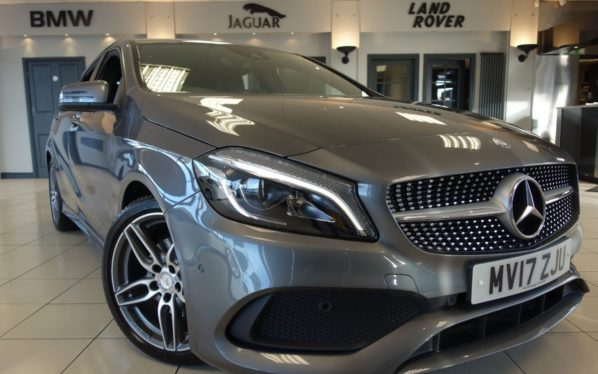 Used 2017 GREY MERCEDES-BENZ A CLASS Hatchback 1.6 A 200 AMG LINE PREMIUM 5d 154 BHP (reg. 2017-03-09) for sale in Hazel Grove