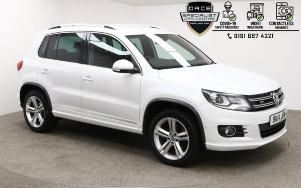 Used 2014 WHITE VOLKSWAGEN TIGUAN 4x4 2.0 R LINE TDI BLUEMOTION TECH 4MOTION DSG 5d 139 BHP (reg. 2014-03-29) for sale in Manchester