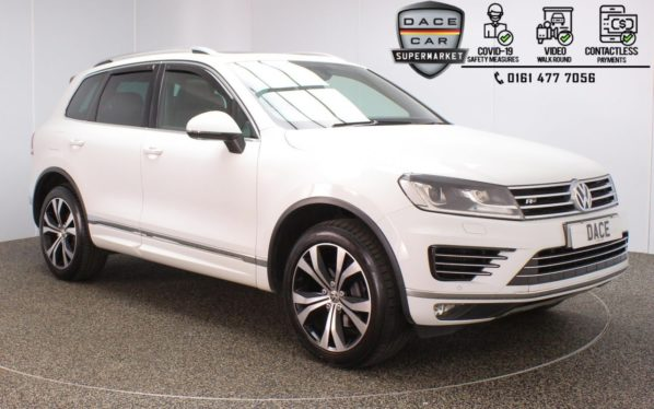Used 2014 WHITE VOLKSWAGEN TOUAREG 4x4 3.0 V6 R-LINE TDI BLUEMOTION TECHNOLOGY 5DR 259 BHP (reg. 2014-10-31) for sale in Stockport