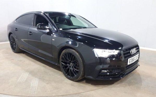 Used 2016 BLACK AUDI A5 Hatchback 1.8 SPORTBACK TFSI BLACK EDITION PLUS 5d AUTO 175 BHP (reg. 2016-09-13) for sale in Manchester