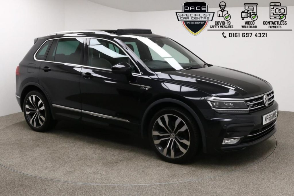 Used 2016 BLACK VOLKSWAGEN TIGUAN 4x4 2.0 R-LINE TDI BMT 4MOTION DSG 5d AUTO 188 BHP (reg. 2016-09-07) for sale in Manchester