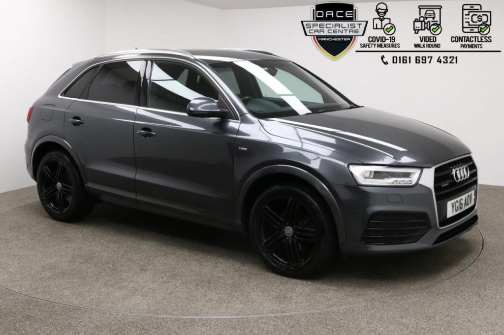 Used 2016 GREY AUDI Q3 4x4 2.0 TDI QUATTRO S LINE PLUS 5DR AUTO 182 BHP (reg. 2016-03-30) for sale in Manchester