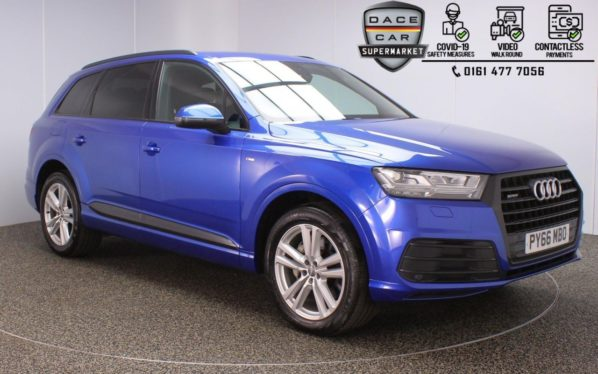 Used 2017 BLUE AUDI Q7 4x4 3.0 TDI QUATTRO S LINE 5DR 1 OWNER AUTO 269 BHP (reg. 2017-02-22) for sale in Stockport