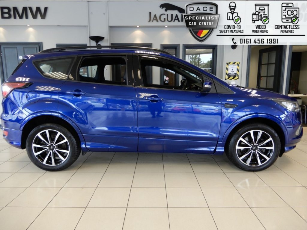 Used 2017 BLUE FORD KUGA Hatchback 1.5 ST-LINE TDCI 5d AUTO 119 BHP (reg. 2017-06-23) for sale in Hazel Grove