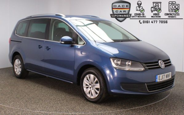 Used 2017 BLUE VOLKSWAGEN SHARAN MPV 2.0 SE TDI BLUEMOTION TECHNOLOGY DSG 5DR 1 OWNER 7 SEATS AUTO 148 BHP (reg. 2017-06-09) for sale in Stockport