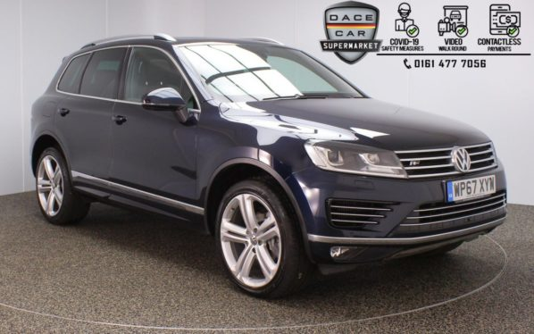 Used 2017 BLUE VOLKSWAGEN TOUAREG 4x4 3.0 V6 R-LINE PLUS TDI BLUEMOTION TECHNOLOGY 5DR 1 OWNER AUTO 259 BHP (reg. 2017-12-18) for sale in Stockport