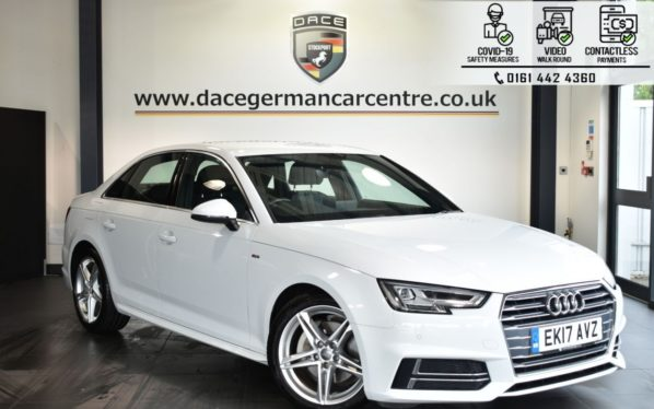 Used 2017 WHITE AUDI A4 Saloon 2.0 TDI S LINE 4DR AUTO 188 BHP (reg. 2017-03-31) for sale in Bolton