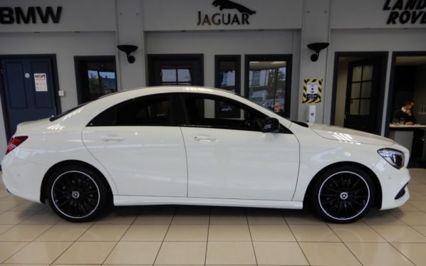 Used 2017 WHITE MERCEDES-BENZ CLA Coupe 1.6 CLA 180 AMG LINE 4d 121 BHP (reg. 2017-09-11) for sale in Hazel Grove