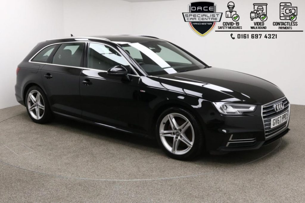 Used 2018 BLACK AUDI A4 AVANT Estate 1.4 AVANT TFSI S LINE 5d 148 BHP (reg. 2018-02-06) for sale in Manchester