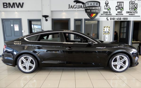 Used 2018 BLACK AUDI A5 Hatchback 2.0 SPORTBACK TFSI S LINE 5d AUTO 188 BHP (reg. 2018-03-07) for sale in Hazel Grove