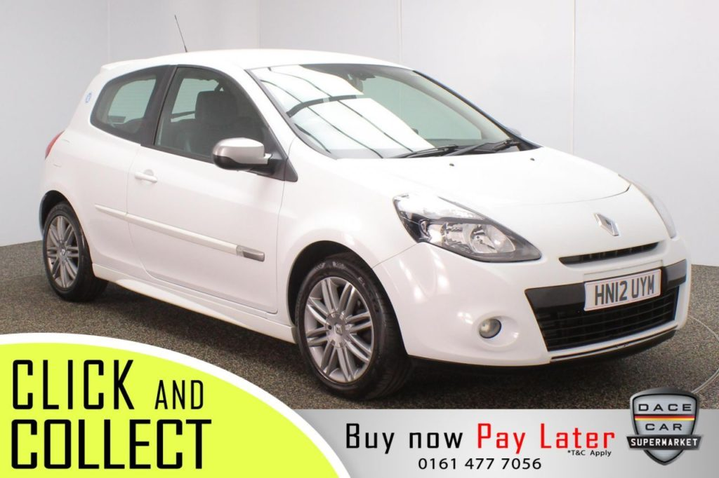 Used 2012 WHITE RENAULT CLIO Hatchback 1.1 DYNAMIQUE TOMTOM TCE 3DR 100 BHP (reg. 2012-07-10) for sale in Stockport