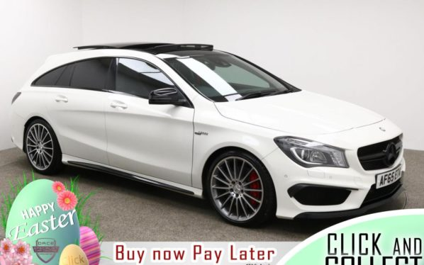 Used 2015 WHITE MERCEDES-BENZ CLA Estate 2.0 AMG CLA 45 4MATIC 5d AUTO 375 BHP (reg. 2015-10-23) for sale in Manchester