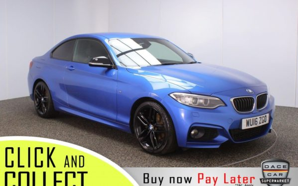 Used 2016 BLUE BMW 2 SERIES Coupe 2.0 218D M SPORT 2DR 148 BHP + FREE 1 YEARS WARRANTY (reg. 2016-03-01) for sale in Stockport