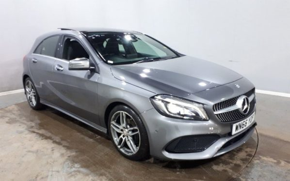 Used 2016 GREY MERCEDES-BENZ A-CLASS Hatchback 1.5 A 180 D AMG LINE PREMIUM PLUS 5d 107 BHP (reg. 2016-11-30) for sale in Manchester