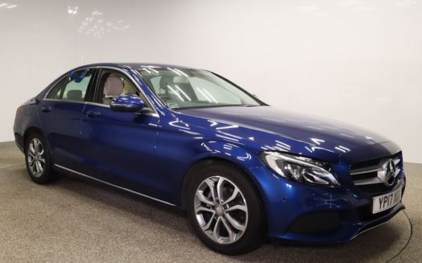 Used 2017 BLUE MERCEDES-BENZ C-CLASS Saloon 1.6 C200 D SPORT 4d AUTO 136 BHP (reg. 2017-05-22) for sale in Manchester