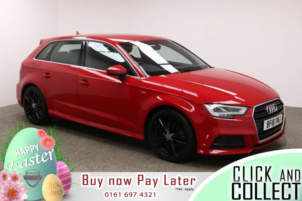 Used 2018 RED AUDI A3 Hatchback 1.5 TFSI S LINE 5d AUTO 148 BHP (reg. 2018-03-01) for sale in Manchester