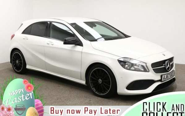 Used 2018 WHITE MERCEDES-BENZ A-CLASS Hatchback 1.6 A 180 AMG LINE EXECUTIVE 5d 121 BHP (reg. 2018-02-20) for sale in Manchester