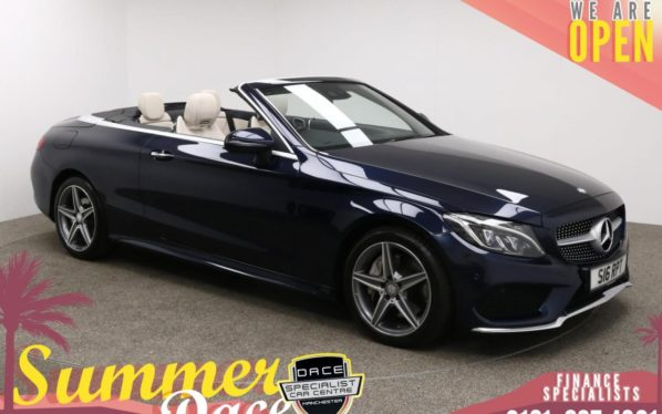 Used 2016 BLUE MERCEDES-BENZ C-CLASS Convertible 2.0 C 300 AMG LINE 2d AUTO 241 BHP (reg. 2016-12-16) for sale in Manchester