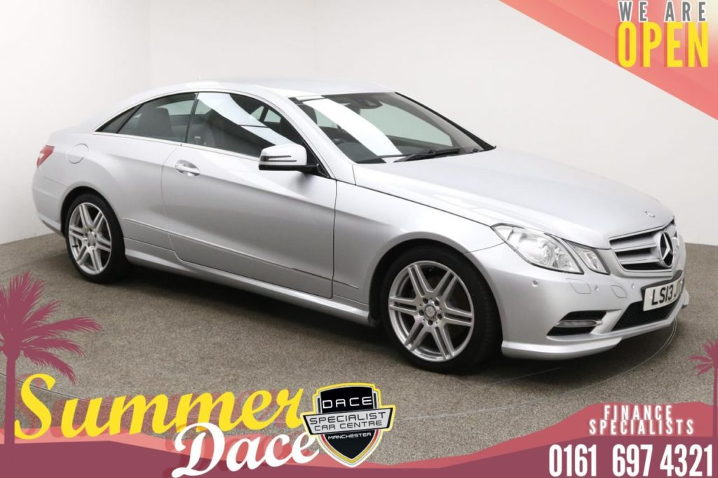 Used 2013 SILVER MERCEDES-BENZ E-CLASS Coupe 2.1 E220 CDI BLUEEFFICIENCY SPORT 2d 170 BHP (reg. 2013-04-30) for sale in Manchester