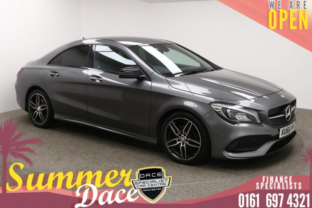 Used 2016 GREY MERCEDES-BENZ CLA Coupe 1.6 CLA 180 AMG LINE 4d 121 BHP (reg. 2016-09-01) for sale in Manchester