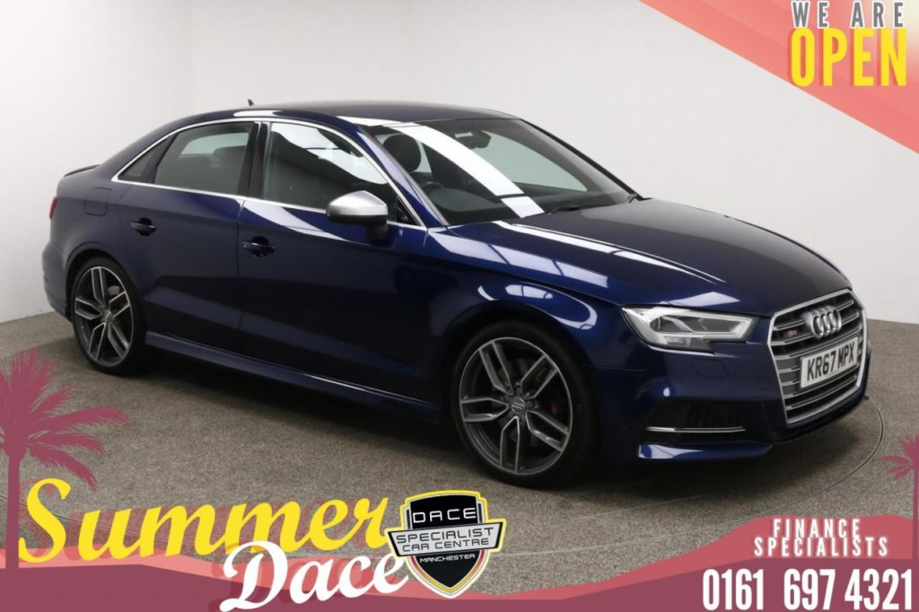Used 2017 BLUE AUDI S3 Saloon 2.0 S3 QUATTRO 4d AUTO 306 BHP (reg. 2017-10-31) for sale in Manchester