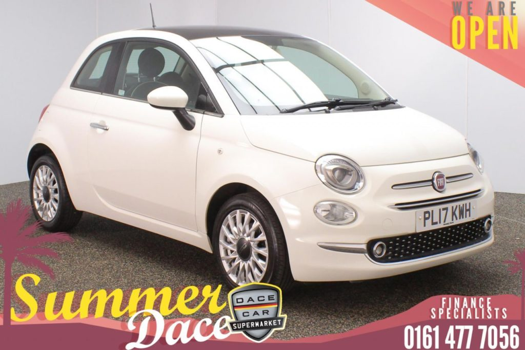 Used 2017 WHITE FIAT 500 Hatchback 1.2 LOUNGE 3DR 69 BHP (reg. 2017-06-30) for sale in Stockport