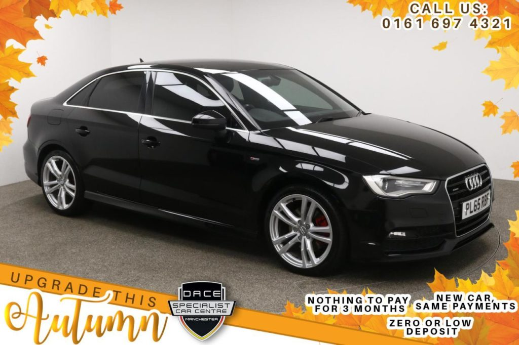 Used 2015 BLACK AUDI A3 Saloon 2.0 TDI QUATTRO S LINE 4d AUTO 182 BHP (reg. 2015-10-08) for sale in Manchester