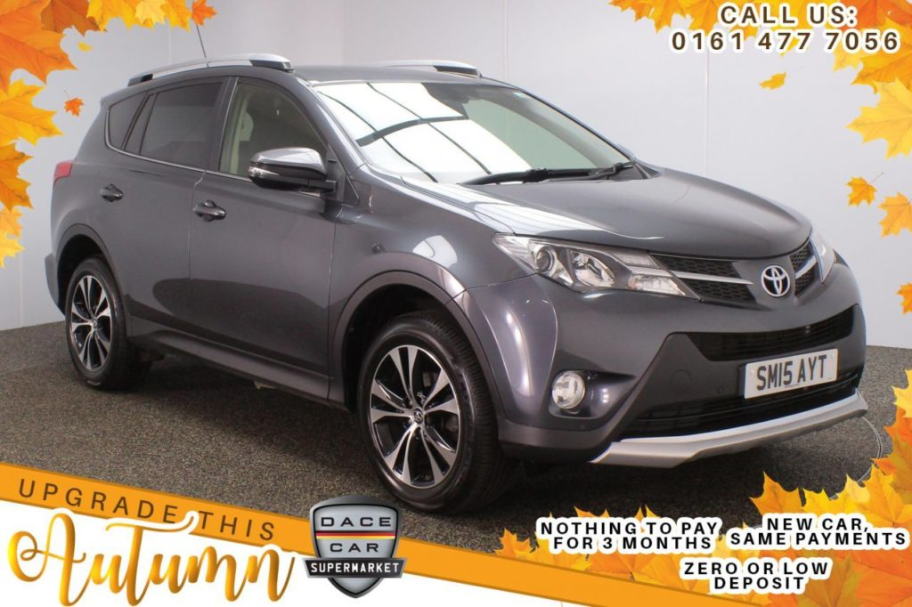 Used 2015 GREY TOYOTA RAV4 SUV 2.0 D-4D INVINCIBLE AWD 5d 124 BHP (reg. 2015-05-29) for sale in Stockport