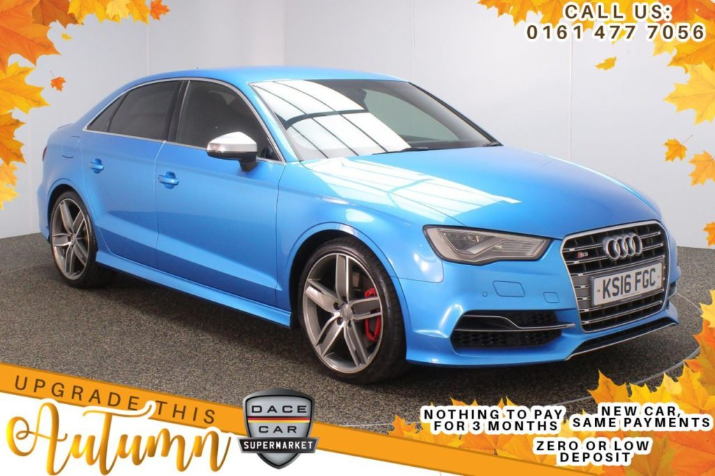 Used 2016 BLUE AUDI S3 Saloon 2.0 S3 QUATTRO 4d AUTO 296 BHP (reg. 2016-04-28) for sale in Stockport