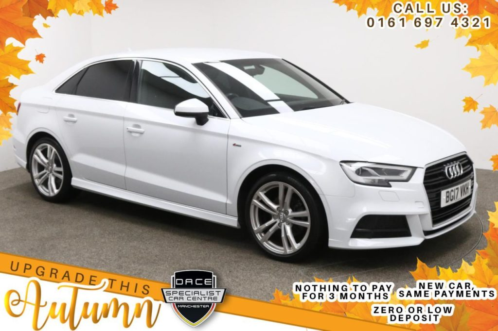Used 2017 WHITE AUDI A3 Saloon 1.4 TFSI S LINE 4d AUTO 148 BHP (reg. 2017-03-23) for sale in Manchester